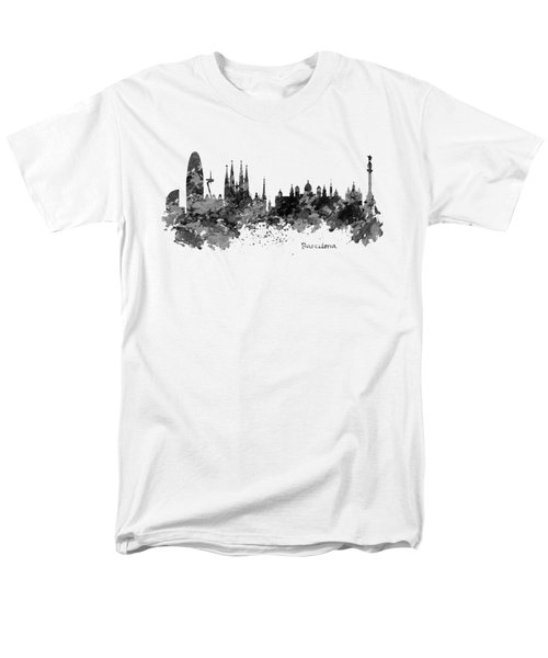 Barcelona Black And White Watercolor Skyline Men's T-Shirt  (Regular Fit) by Marian Voicu