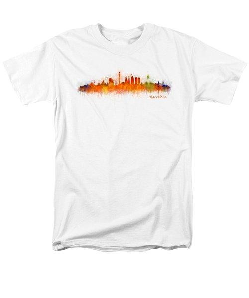Barcelona City Skyline Hq _v3 Men's T-Shirt  (Regular Fit) by HQ Photo