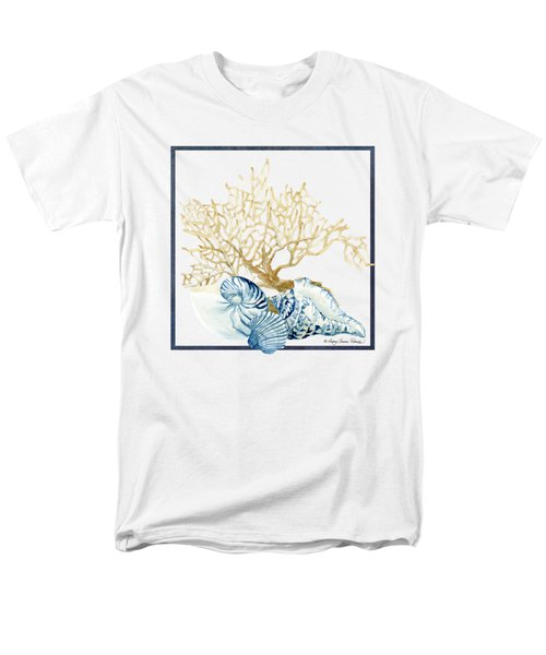 Beach House Nautilus Scallop N Conch With Tan Fan Coral Men's T-Shirt  (Regular Fit) by Audrey Jeanne Roberts