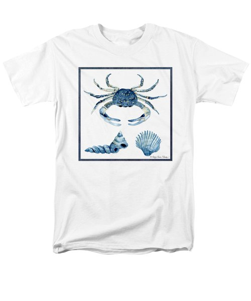 Beach House Sea Life Crab Turban Shell N Scallop Men's T-Shirt  (Regular Fit) by Audrey Jeanne Roberts