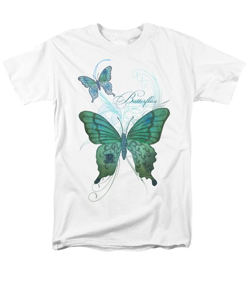 Beautiful Butterflies N Swirls Modern Style Men's T-Shirt  (Regular Fit) by Audrey Jeanne Roberts