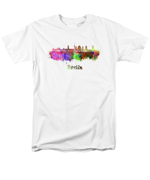 Berlin V2 Skyline In Watercolor Men's T-Shirt  (Regular Fit) by Pablo Romero