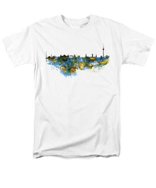 Berlin Watercolor Skyline Men's T-Shirt  (Regular Fit) by Marian Voicu