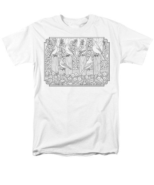 Birds In Flower Garden Coloring Page Men's T-Shirt  (Regular Fit) by Crista Forest