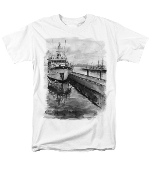 Boat On Waterfront Marina Kirkland Washington Men's T-Shirt  (Regular Fit) by Olga Shvartsur
