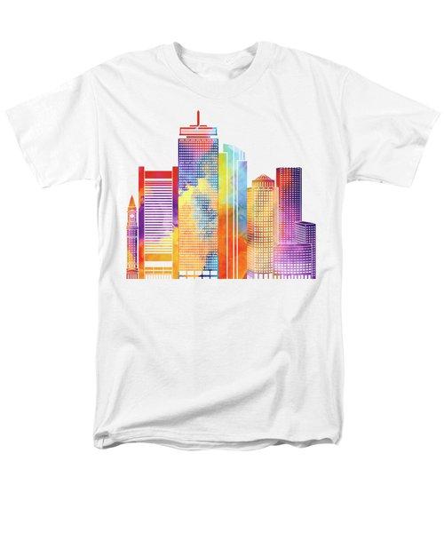 Boston Landmarks Watercolor Poster Men's T-Shirt  (Regular Fit) by Pablo Romero