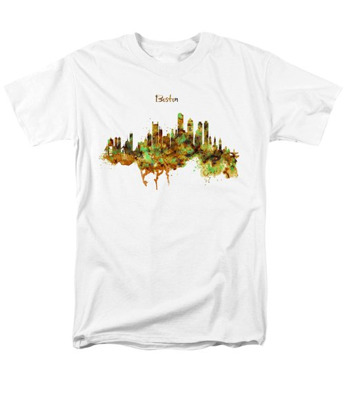 Boston Watercolor Skyline Men's T-Shirt  (Regular Fit) by Marian Voicu