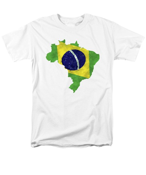 Brazil Map Art With Flag Design Men's T-Shirt  (Regular Fit) by World Art Prints And Designs