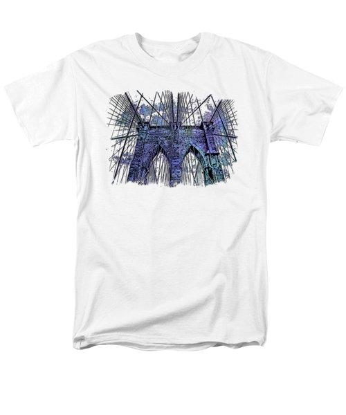 Brooklyn Bridge Berry Blues 3 Dimensional Men's T-Shirt  (Regular Fit) by Di Designs