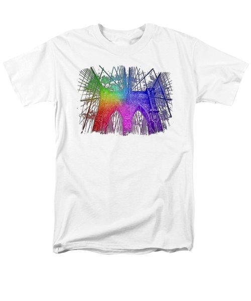 Brooklyn Bridge Cool Rainbow 3 Dimensional Men's T-Shirt  (Regular Fit) by Di Designs
