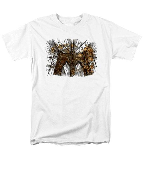 Brooklyn Bridge Earthy 3 Dimensional Men's T-Shirt  (Regular Fit) by Di Designs