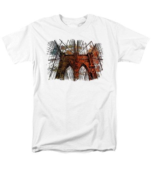 Brooklyn Bridge Earthy Rainbow 3 Dimensional Men's T-Shirt  (Regular Fit) by Di Designs