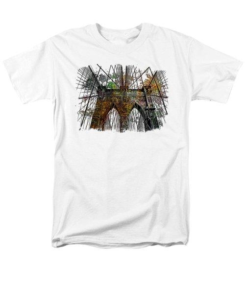 Brooklyn Bridge Muted Rainbow 3 Dimensional Men's T-Shirt  (Regular Fit) by Di Designs