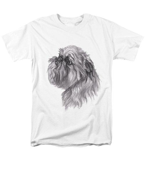 Brussels Griffon Dog Portrait  Drawing Men's T-Shirt  (Regular Fit) by I Am Lalanny