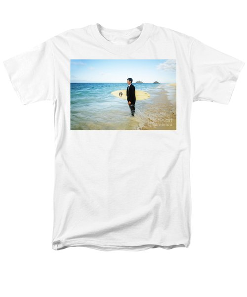 Business man at the beach with surfboard T-Shirt by Brandon Tabiolo - Printscapes