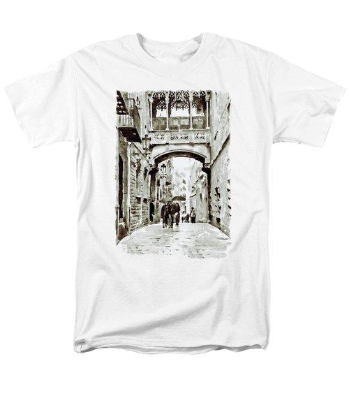 Carrer Del Bisbe - Barcelona Black And White Men's T-Shirt  (Regular Fit) by Marian Voicu