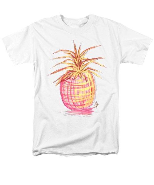 Chic Pink Metallic Gold Pineapple Fruit Wall Art Aroon Melane 2015 Collection By Madart Men's T-Shirt  (Regular Fit) by Megan Duncanson