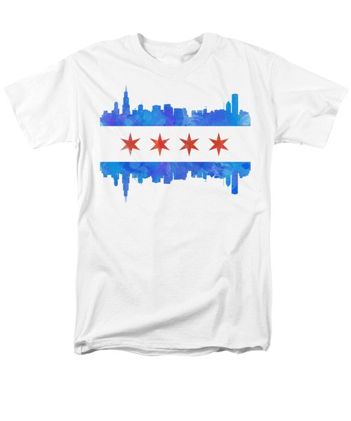 Chicago Flag Watercolor Men's T-Shirt  (Regular Fit) by Mike Maher