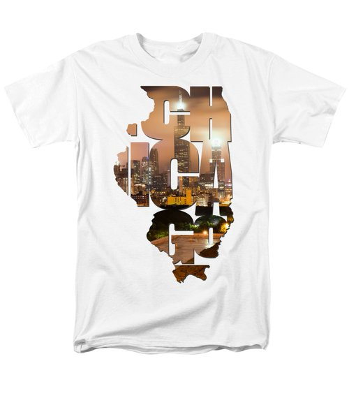 Chicago Illinois Typography - Chicago Skyline From The Rooftop Men's T-Shirt  (Regular Fit) by Gregory Ballos