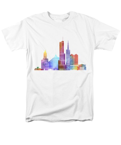 Chicago Landmarks Watercolor Poster Men's T-Shirt  (Regular Fit) by Pablo Romero