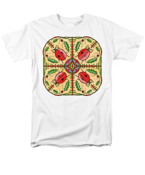 Christmas Ladybug Mandala Men's T-Shirt  (Regular Fit) by Tanya Provines