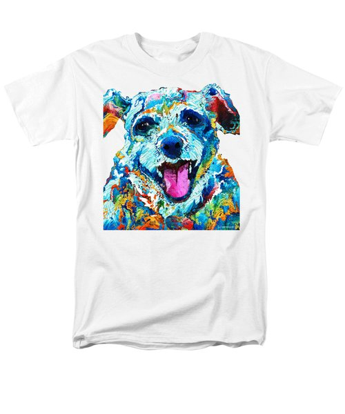 Colorful Dog Art - Smile - By Sharon Cummings Men's T-Shirt  (Regular Fit) by Sharon Cummings