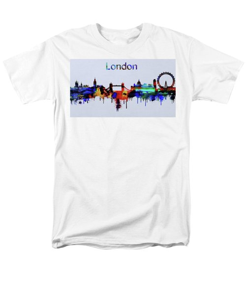 Colorful London Skyline Silhouette Men's T-Shirt  (Regular Fit) by Dan Sproul