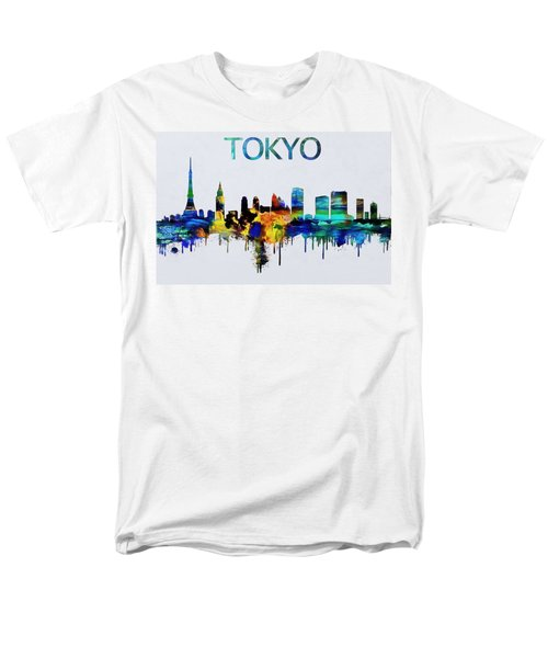 Colorful Tokyo Skyline Silhouette Men's T-Shirt  (Regular Fit) by Dan Sproul