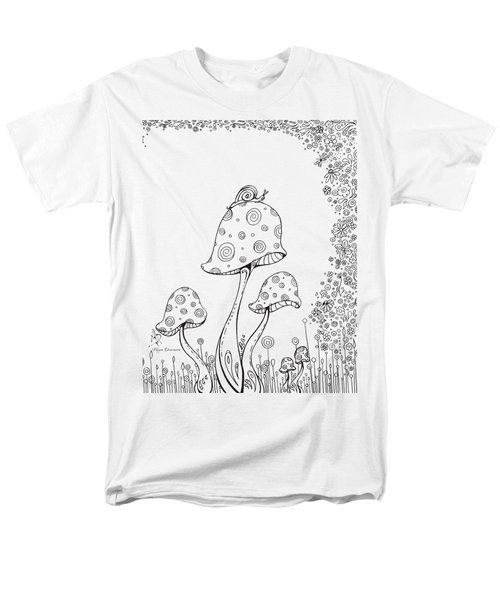 Coloring Page With Beautiful In The Garden 8 Drawing By Megan Duncanson Men's T-Shirt  (Regular Fit) by Megan Duncanson