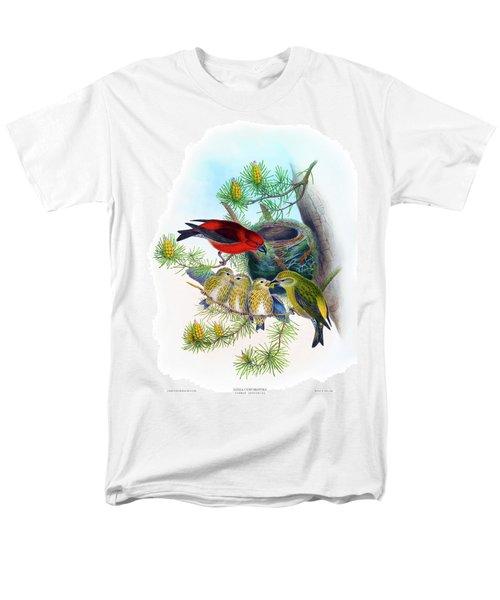 Common Crossbill Antique Bird Print John Gould Hc Richter Birds Of Great Britain  Men's T-Shirt  (Regular Fit) by John Gould - HC Richter