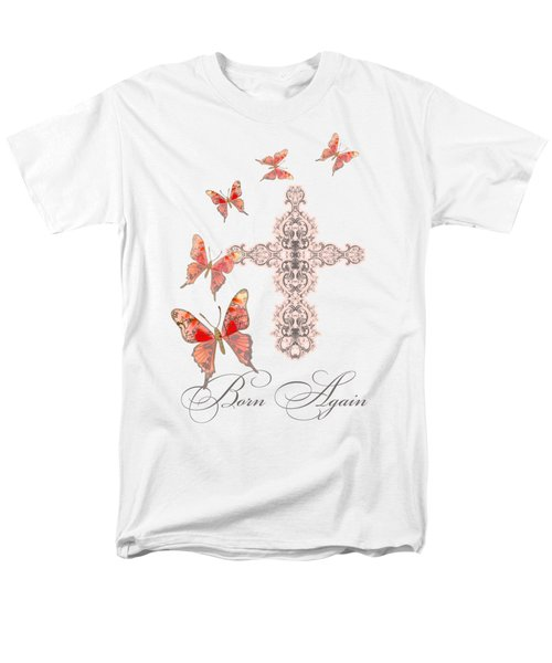 Cross Born Again Christian Inspirational Butterfly Butterflies Men's T-Shirt  (Regular Fit) by Audrey Jeanne Roberts
