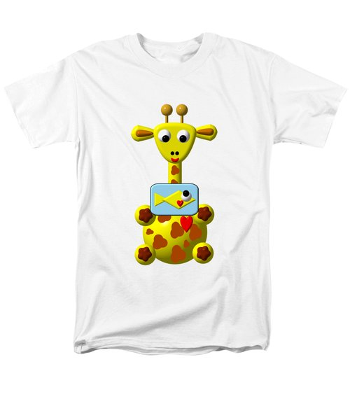 Cute Giraffe With Goldfish Men's T-Shirt  (Regular Fit) by Rose Santuci-Sofranko