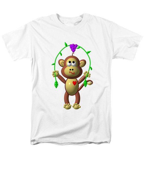 Cute Monkey Jumping Rope Men's T-Shirt  (Regular Fit) by Rose Santuci-Sofranko