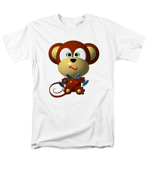 Cute Monkey Lifting Weights Men's T-Shirt  (Regular Fit) by Rose Santuci-Sofranko