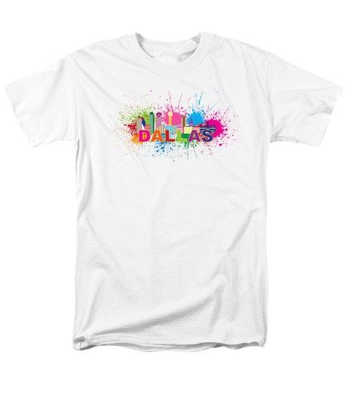 Dallas Skyline Paint Splatter Text Illustration Men's T-Shirt  (Regular Fit) by Jit Lim