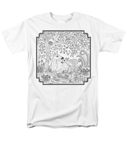 Deer Fantasy Forest Coloring Page Men's T-Shirt  (Regular Fit) by Crista Forest