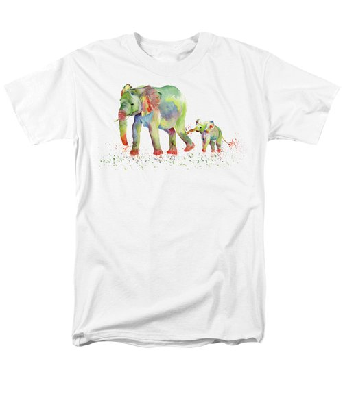 Elephant Family Watercolor  Men's T-Shirt  (Regular Fit) by Melly Terpening