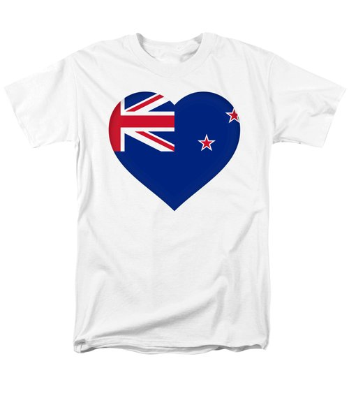 Flag Of New Zealand Heart Men's T-Shirt  (Regular Fit) by Roy Pedersen