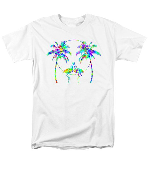 Flamingos In Love - Splatter Art Men's T-Shirt  (Regular Fit) by SharaLee Art