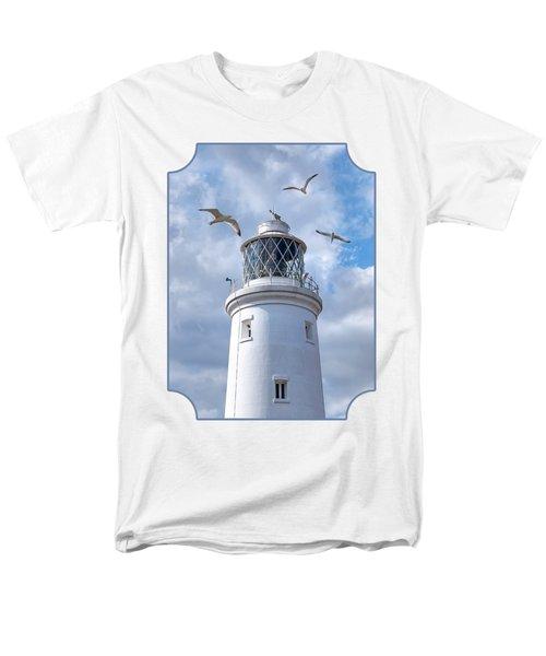 Fly Past - Seagulls Round Southwold Lighthouse Men's T-Shirt  (Regular Fit) by Gill Billington
