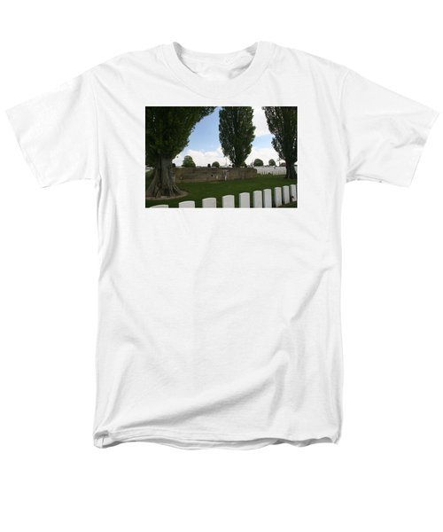 Men's T-Shirt  (Regular Fit) featuring the photograph German Bunker At Tyne Cot Cemetery by Travel Pics