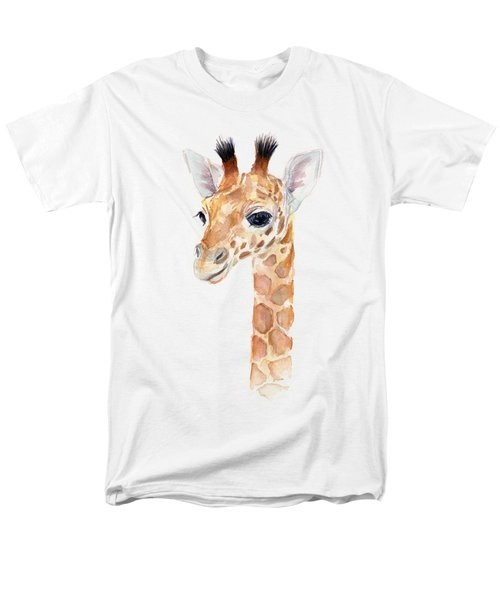 Giraffe Watercolor Men's T-Shirt  (Regular Fit) by Olga Shvartsur
