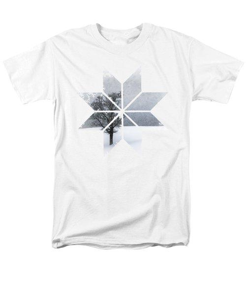Graphic Art Snowflake Lonely Tree Men's T-Shirt  (Regular Fit) by Melanie Viola