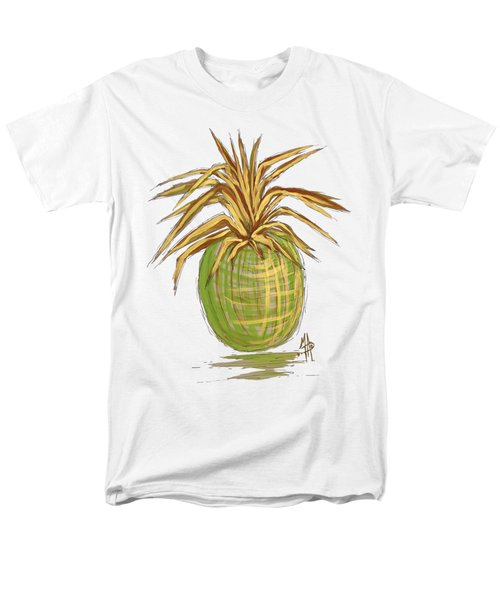 Green Gold Pineapple Painting Illustration Aroon Melane 2015 Collection By Madart Men's T-Shirt  (Regular Fit) by Megan Duncanson