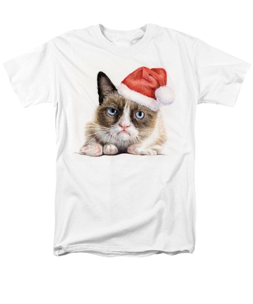Grumpy Cat as Santa T-Shirt by Olga Shvartsur