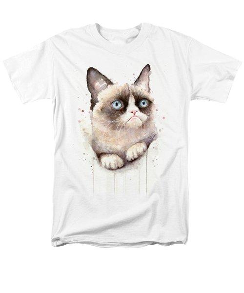 Grumpy Cat Watercolor Men's T-Shirt  (Regular Fit) by Olga Shvartsur