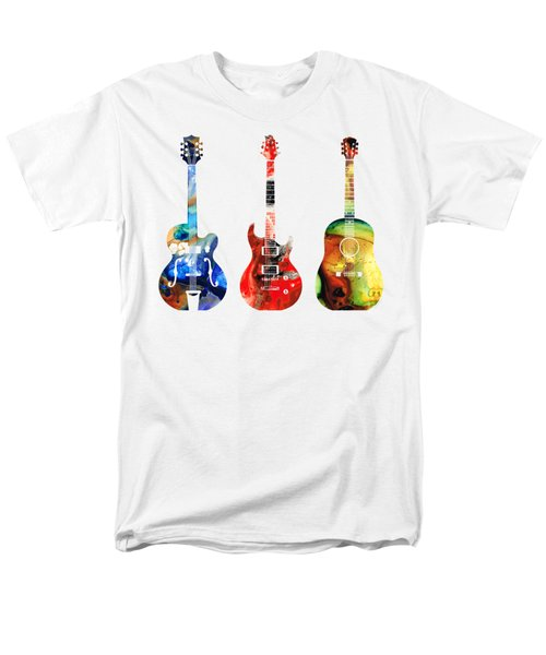 Guitar Threesome - Colorful Guitars By Sharon Cummings Men's T-Shirt  (Regular Fit) by Sharon Cummings