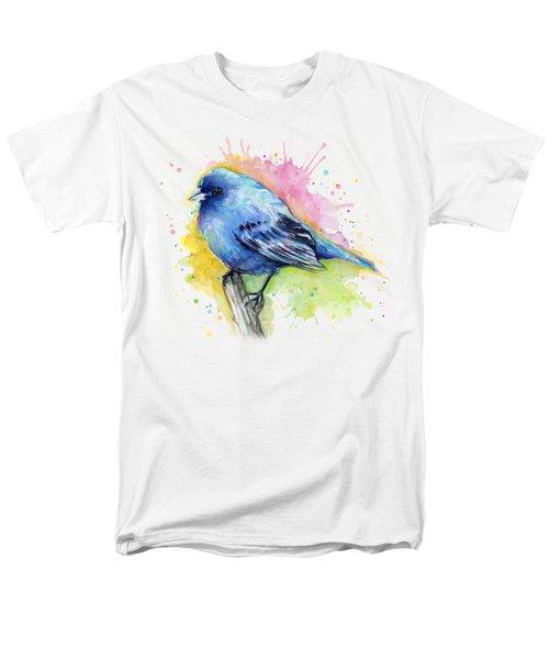 Indigo Bunting Blue Bird Watercolor Men's T-Shirt  (Regular Fit) by Olga Shvartsur