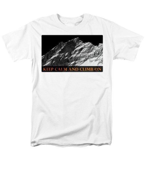 Keep Calm And Climb On Men's T-Shirt  (Regular Fit) by Frank Tschakert