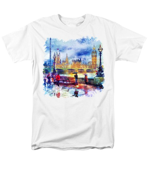London Rain Watercolor Men's T-Shirt  (Regular Fit) by Marian Voicu
